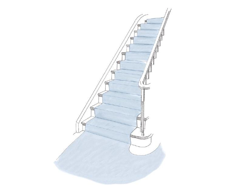 Stiegenaufgang mit Teppich ausgelegt