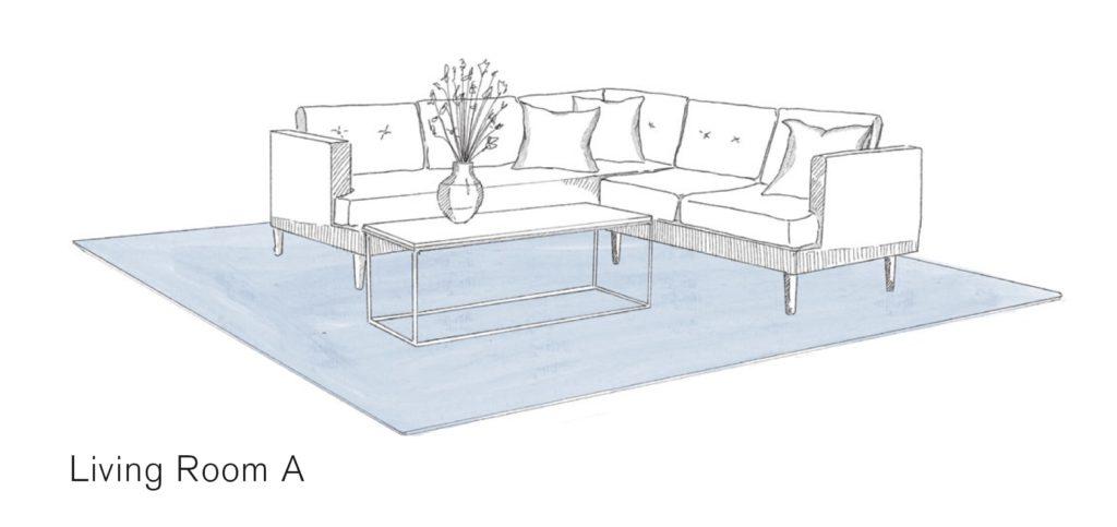 Zeichnung zeigt L-förmige Couch mit Tisch und bläulichem Teppich über die ganze Fläche