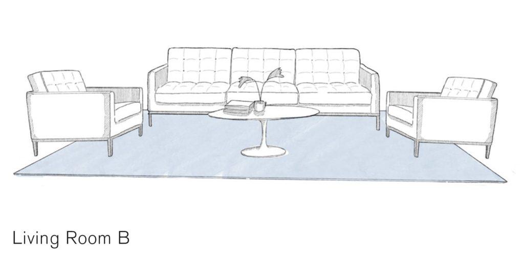 Gezeichnetes Wohnzimmerensemble aus Couch, zwei Fauteuils und einem runden Tisch, ein bläulicher Teppich bedeckt fast zur Gänze des Sitzbereich