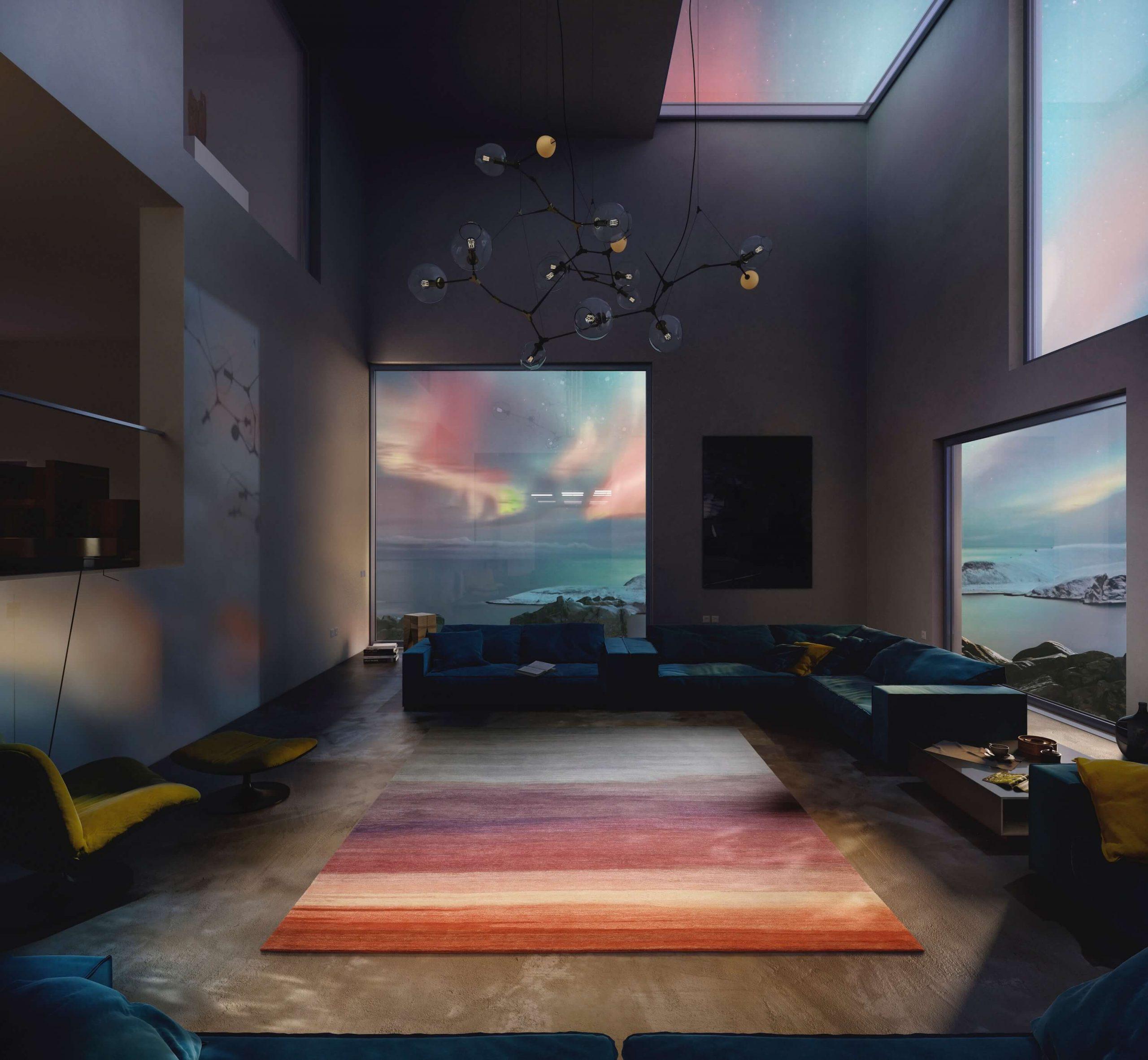 Jan Kath Designer Teppich Spektrum in Wohnzimmer